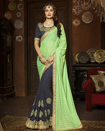 Wedding Embroidery Green Grey Georgette Silk Designer Saree