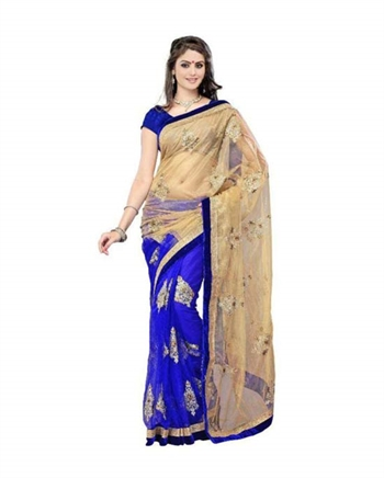 Blue Georgette Saree With Blouse Piece